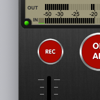 LUCI Rooms audio over IP live broadcasting tool, Recording button, for high quality audio recording.