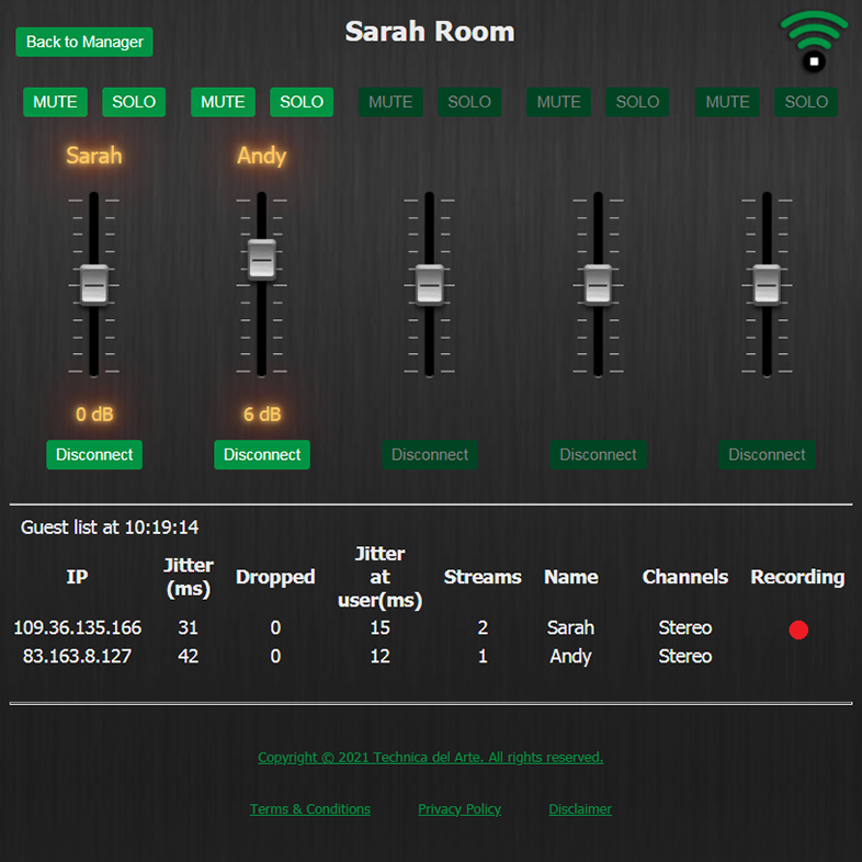 LUCI Rooms audio over IP live broadcasting tool, Room Mixing Console.