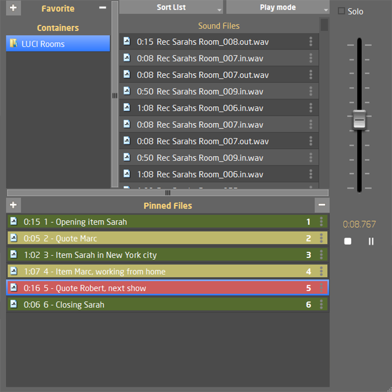 LUCI Rooms audio over IP live broadcasting tool, Room Player.