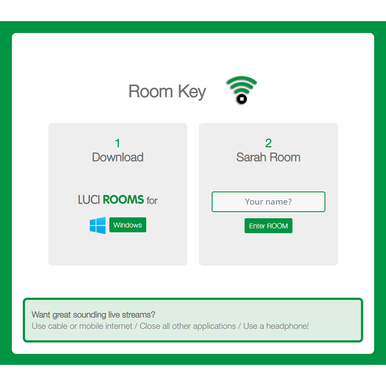 LUCI Rooms audio over IP live broadcasting tool, Room Key.